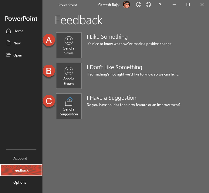 Feedback Tab of Backstage View in PowerPoint